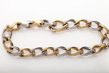 Signed $3000 FANCY CUBAN LINK 14k Yellow White Gold 8mm Bracelet