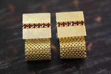 Vtg Estate Gold Tone Faceted Red Stones Diamond Cut Square Mesh Wrap Cufflinks