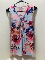Jennifer Lopez Floral Sleeveless Tunic Frill Tank Top, JLO Flower Top Size XL