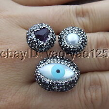 S111515 White Pearl Shell Amethyst Trimmed With Marcasite Ring