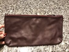 Burgundy Two Tone Leather Cosmetic Case Bag