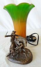 "Vintage ~ Signed Frederick Remington Bronze Sculpture Table Lamp ""Bronco Buster"""