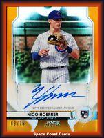 2020 Bowman Sterling Nico Hoerner Auto Orange Refractor RC /75 Chicago Cubs