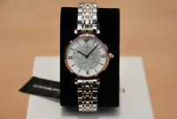 NEW GENUINE EMPORIO ARMANI AR1926 TWO TONE GIANNI T-BAR LADIES WATCH RRP £369