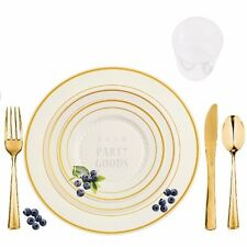 60 Full Table Settings Elegant Disposable Bone/Gold Rimmed Plates-Cups-Cutlery