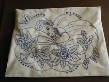 Old Victorian Pillow Cover Sweet dreams design blue on white H Embroidery Europe