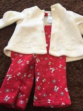 Girls 9M red white fleece jacket and pants