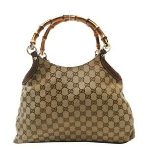 GUCCI GG Canvas Bamboo Tote Handbag Beige Brown Leather 137395