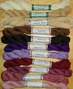 11 Skeins lot Vintage new Bernat Tapestry Wool assorted color