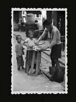 1940s Vintage Hong Kong Photo Children Boy Street Food Vendor Japanese War #417