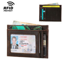 RFID Blocking Leather Slim ID Wallet Card Holder Case Money Clip Protector Purse