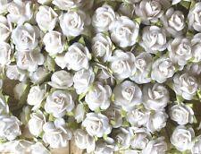 50 MINI WHITE ROSE MULBERRY PAPER FLOWER WIRE STEM DIY CRAFTS SCRAPBOOK CARD 2CM