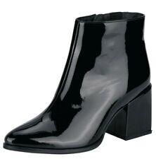 Andrea Conti Shoes Stiefelette 38 Leder Decksohle Schwarz Lack Boots Heels NEU