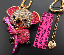 Betsey Johnson Pink Crystal Koala Bear Gold Pendant Chain Necklace Free Gift Bag