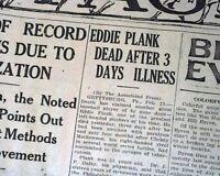 EDDIE PLANK Philadelphia Athletics Hall of Fame Pitcher DEATH 1926 Old Newspaper