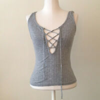 NWT URBAN OUTFITTERS PROJECT SOCIAL T RIBBED GRAY LACE UP TANK TOP SIZE SMALL