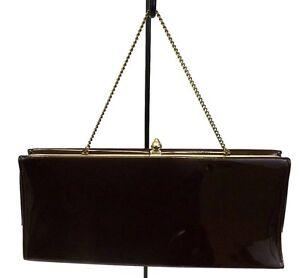 Women's Handbag, Brown Clutch Satchel Bag, Purse Patent Faux Leather Frame