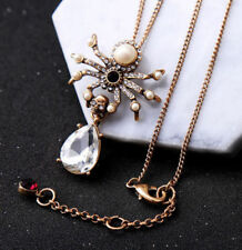 Cool !Betsey Johnson Fashion Retro Rhinestone spider pendant necklace
