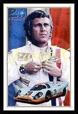 STEVE McQUEEN - MOVIE Le Mans PORSCHE - PORTRAIT POSTER - REALLY COOL ARTWORK!!!