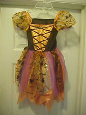 """Pretty Orange Witch"" Dress Costume Girl Size 4-6 Short Sheer Sleeves Black Cat"