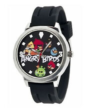 ANGRY BIRDS WATCH! GIANT, JUMBO STAINLESS STEEL, BLACK RUBBER STRAP...LUMINOUS
