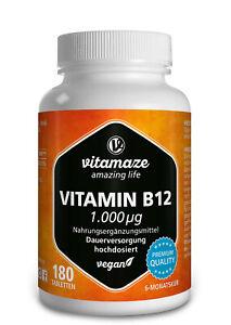 (€37,71/100g) Vitamin B12 hochdosiert 180 Tabletten Methylcobalamin vegan