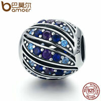BAMOER S925 Sterling silver Charm Peacock feather With Blue cz Bead For bracelet