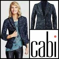 NEW $158  CAbi Jacquard Blazer Navy Blue Wool Bld Flocked Jacket #109 womens 12