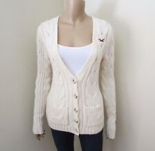 Hollister Womens Cable Knit Wool Cardigan Size Small Chunky Sweater Cream
