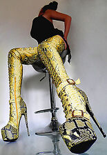 BOOTS MADE IN ITALY HIGH HEELS OVERKNEE LANG STIEFEL STRETCH LEATHERETTE GELB 40