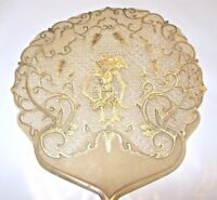 Antique Indonesia Java Bali ASIAN Buffalo Vellum Pierced Fan Horn Handle gold