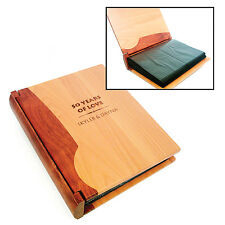 Custom Engraved Wood Photo Album with Rosewood or Walnut Spine