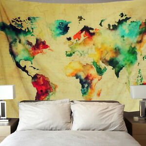 Maps Global Watercolor Wall Tapestries Hanging D/écor Bedroom Dorm College Living Room Home Art Print Decoration Decorative Printed in the USA Pink World Map Tapestry Small Medium Large Sizes
