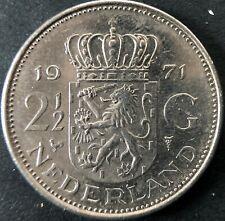 1971 Netherlands 2 1/2 Gulden Nickel Coin in very nice condition