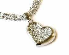 H4 Clear Crystal Heart Love Multichain NECKLACE Silverplate NEW