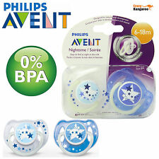 2 Philips Avent Glow in the Dark Night-Time Soothers 6-18m - SCF176/22