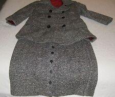 Women's Vintage Ilgwu Wool Black & White Double Breasted Jacket&Skirt-Size app 8