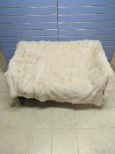 Luxury Beige Fox Fur Throw Real Fox Fur Blanket /Bedspread