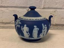 Antique Wedgwood Blue Jasperware Sacrifice Pattern Sugar Dish