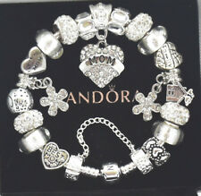 Pandora Charm Bracelet Silver MOM Heart Family Mother Day European Charms NIB