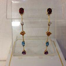 9ct Multi-Gem Long Drop Earrings.