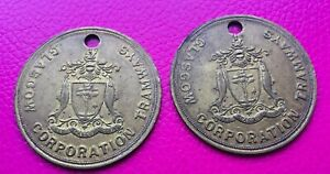 Vintage Brass Glasgow Tramways Subway Pay Check large tokens