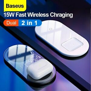 Baseus 2 in1 Qi Wireless Charger 15W Fast Charging Pad For iPhone 12 Airpod Pro
