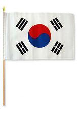 "12x18 12""x18"" Wholesale Lot of 12 (Dozen) South Korea Stick Flag wood Staff"