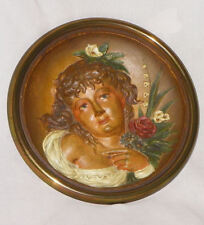 Antique Cast Iron Portrait Lady Plaque – original paint