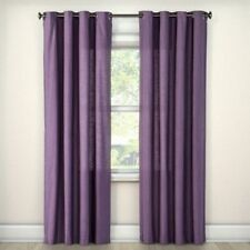 "Threshold Natural Solid Refined Plum Purple One Window Curtain Panel, 54"" x 108"""