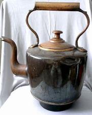 Large Antique Primitive English Furnace COPPER DOVETAILED Teapot KETTLE