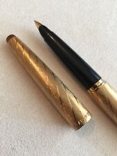 VERY RARE PARKER 45 LADY GOLD BROCADE FOUNTAIN PEN-14k B NIB-USA-NR MINT