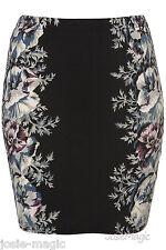 Topshop UK 8 Floral Border Jersey Bodycon Mini Skirt Black/Green/Purple New