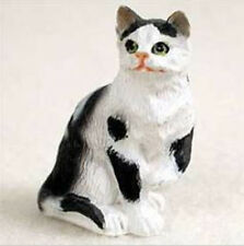 Shorthaired Black & White Tabby Cat TINY ONES Figurine Statue Pet Resin